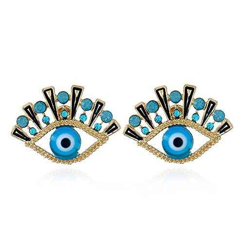 Wiwiw 2 Pack Evil Eye Stud Earrings Fashion Earrings Jewelry (Evil Eye 01)