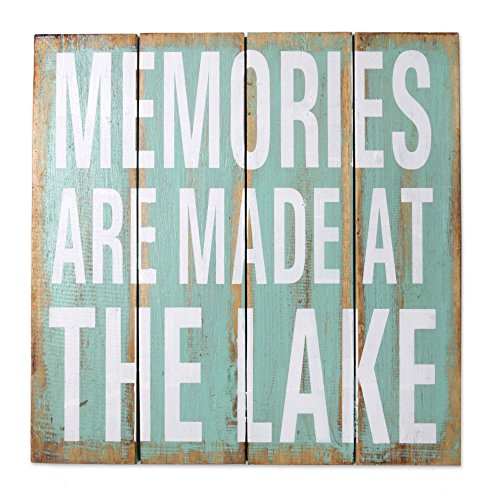 Cheap NOVICA Turquoise Rustic Wood Lake House Wall Sign, 'Memories are Made at the Lake'