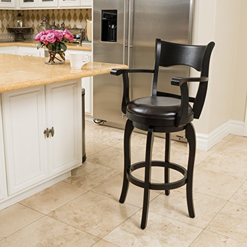 Cody Armed Espresso Leather Swivel Barstool (Armed Bar Stool)