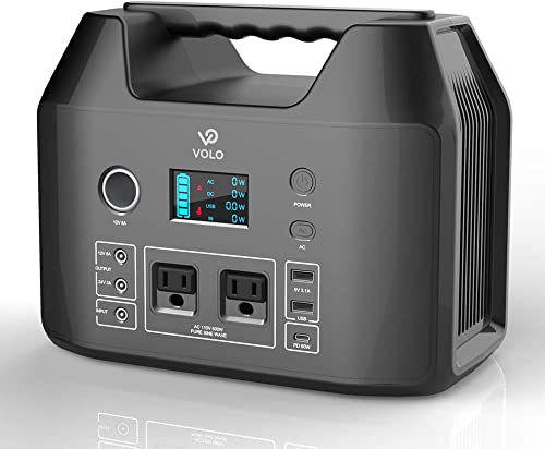 VOLO 500W Portable Power Station, 555Wh 150000mAh Camping Lithium Battery Pack with 2AC 110V 1DC 12V 1DC 24V 1Car cigarette lighter 1USB-C PD 2 USB Flashlight for Outdoor Camp Home Emergency