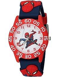 Boys Spider-Man Analog-Quartz Watch with Plastic Strap, Blue, 16 (Model: WMA000169)