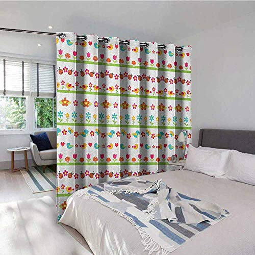 Kids Window Gromets Curtain Set Drapes for Bedroom, Lovely Border Designs with Birds Ladybugs and Summer Flowers Cheering Nature Cartoon Light Darkening Curtains, Multicolor, W96 x L96 Inches
