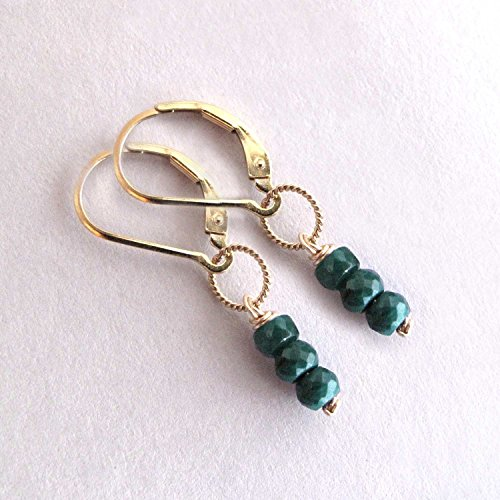Genuine Green Emerald Stack Earrings May Birthstone - 14k Gold Filled Leverback
