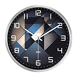 Color Map Silvery Wall Clock, 12 Inch Silent Non Ticking Quality Quartz Battery Operated Easy to Read Home/Office/School Clock, With Stainless Steel Frame(Fashion Element,Silver)