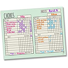 "Jennakate Mint Multiple Child Behavior Reward Chore Chart-Daily Household Chore Checklist-Job Chart- Dry Erase- 14""x18"""