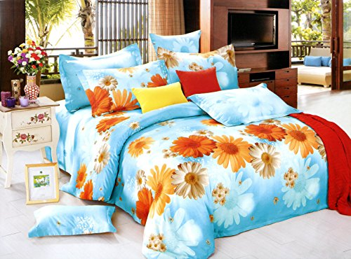 Swanson Beddings Sunny Blue Daisy 3-Piece 100% Cotton Bedding Set: Duvet Cover and Two Pillowcases (Queen) Daisy Wedding Cover
