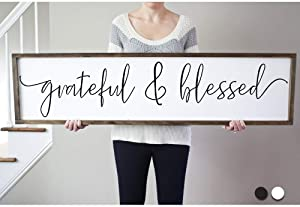 bawansign Grateful Blessed Sign for Living Room Farmhouse Sign Framed Sign Living Room Farmhouse Home Rustic Wall Decor Sign for Above Bed
