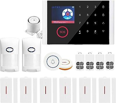Funci/ón de Phone Anti-Mascota Un Bot/ón de SOS WiFi GPRS 3 En 1 Pantalla T/áctil LCD a Color de 2.4 Pulgadas Control Remoto de Phone Notificaci/ón de Alarma OWSOO Sistema de Alarma 433MHz gsm