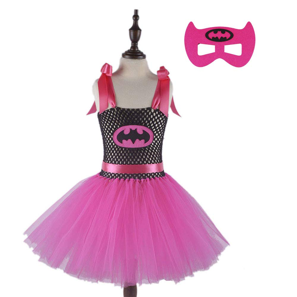 Hot Pink Girl Superhero Costume Set Handmade Girls Tutu Dress with Mask 1set