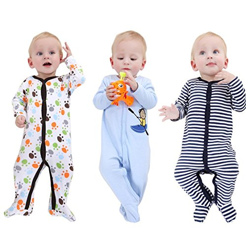 Mothernest Baby Boys' Footed Pajamas Sleeper 3 Pack Long Sleeve for Snap Sleep Play (Paws Monkey Stripe 0-3M) by Mothernest