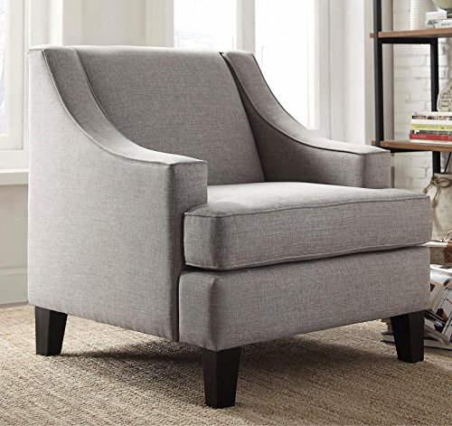 ModHaus Modern Gray Linen Fabric Upholstered Swoop Arm Chair Includes Living (TM) Pen For Sale