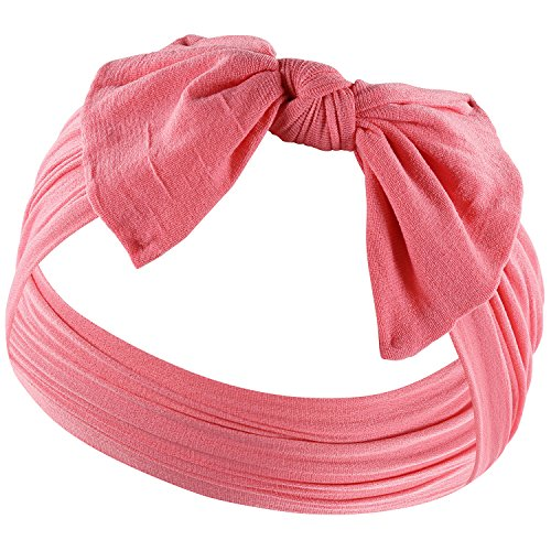 YOUR NEW FAVORITE HEADBAND Super Stretchy KNOT BABY HEADBAND For Newborn and Baby Girls By Zelda Matilda,Coral ()