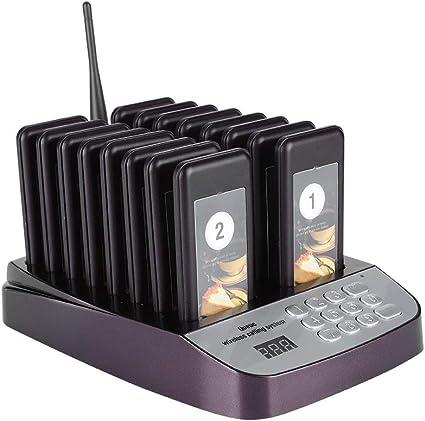 Fast Food 1 Trasmettitore Tastiera per Caffetteria Spina UE Ristorante Cicalini Cercapersone Sistema di Accodamento Ospite Wireless con 20 Cercapersone Ricaricabile Sistema di Chiamata Wireless