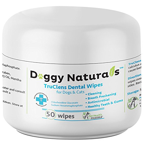 Dental Wipes for Dogs and Cats with Chlorhexidine and Sodium Hexametaphosphate That Helps Remove Plaque Tartar Buildup Calculus, Bad Breath,Tooth Decay & Gingivitis (50 Wipe) Made in USA TruClens