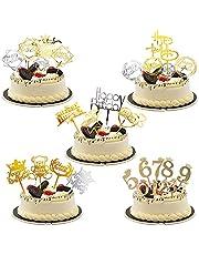 Kaimeilai Cake Topper, 28 stuks Happy Birthday taartdecoratie verjaardag acryl verjaardagstaart topper, nummer 0-9 glitter taarttopper, taartopzetstukken voor glitter party decoratie bruiloft