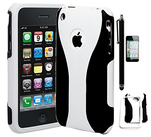 iPhone 3 Phone Case, Bastex Protective White and Black Cup Shape Snap On Case Cover for Apple iPhone 3, 3G, 3S, 3GSINCLUDES SCREEN PROTECTOR AND STYLUS