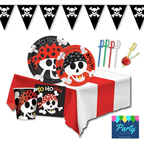 Pirate Party Supplies Pack - Deluxe Set For 16 Guests Including Dinner Plates, Dessert Plates, Cups, Napkins and Decor by Party Tableware (Cheap Pirate Flags)