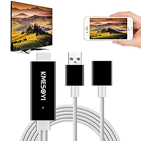 Lightning MHL to HDMI Cable Adapter,Plug and Play HDMI Adapter with 1080p Resolution for iPhone, iPad, Samsung to Mirror On HDTV (Samsung Galaxy S5 To Tv Hdmi)