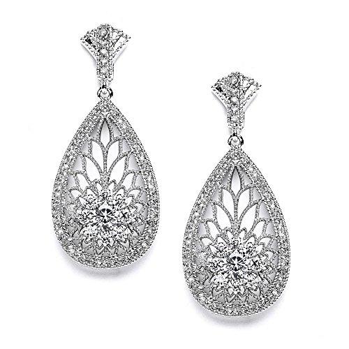 Mariell Art Deco Vintage CZ Wedding Earrings for Brides - Retro 1920's Platinum Plated Bridal ()