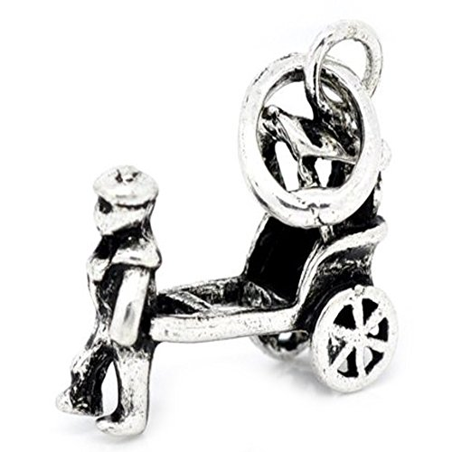 Wheeled Carriages - Man Pulling Two Wheeled Carriage Dangle Bead Charm for European Snake Chain Charm Bracelet