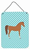 Caroline's Treasures Arabian Horse Blue Check Metal Print, 16hx12w, Multicolor