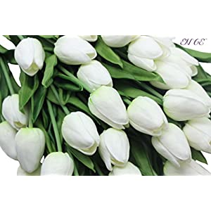 20- Heads Home Deocr Mini Tulip Real Touch Tulip Artificial Flowers Bouquets (White) 2