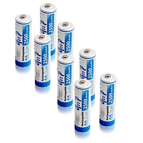 GODP 1200 Cycle Capacity 900 /1000mAh AAA 1500 / 1800 / 2300 / 2500 / 3000 mAh AA Nickel Metal Hydride Ni-MH Rechargeable Batteries (8, AA 2500mAh)
