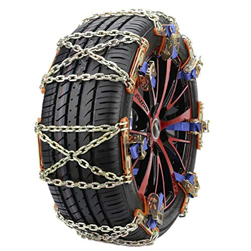 ErYao 2 pcs Tire Traction Chain Universal Wheel Tire Snow Anti-Skid Chains for Car Truck Emergency Winter Driving Security Chains (Gold)