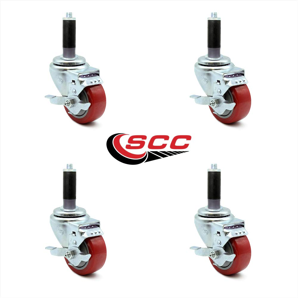 Set of 4 Equipment Plate Casters with 3 Polyurethane Wheels L/&J Import
