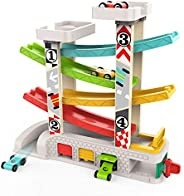 TOP BRIGHT Car Ramp Toy for 1 2 3 Year Old Boy Gifts, Toddler Race Track Toy with 4 Wooden Cars and 3 Car Gara