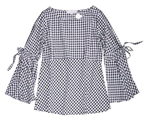 Ann Taylor LOFT Women's Petite - Gingham Check Bell Tie-Sleeve Blouse (Petite Small) (Sleeve Check Shirt Gingham)