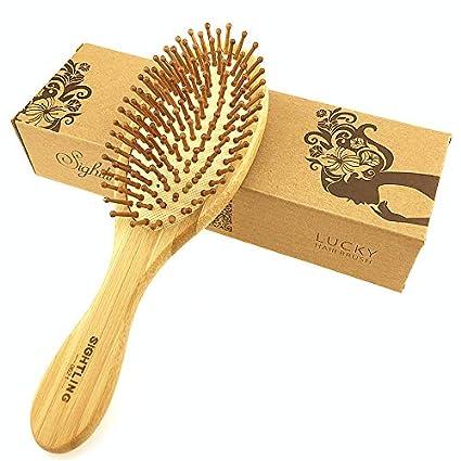SIGHTLING Cepillo de pelo natural de bambú peine cepillo de cuero cabelludo masaje para el cuidado