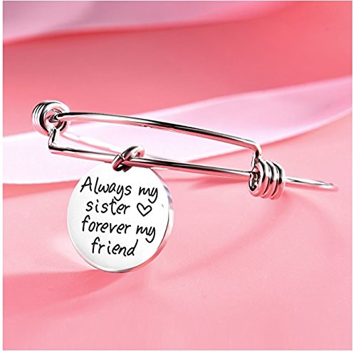 Yellow Chimes Sister Message Steel Charm Bracelet for Girls and Women