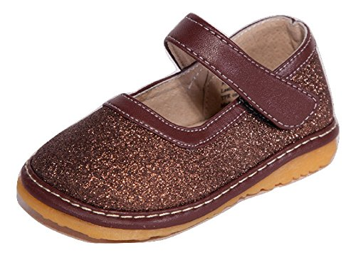 Toddler Footwear Brown (Squeaky Shoes  Brown Sparkle Mary Jane Toddler Girl Shoes Removable Squeakers 4)