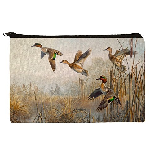 Teal Green Duck Winged (Green-Winged Teal Ducks Taking Flight Hunters Hunting Makeup Cosmetic Bag Organizer Pouch)