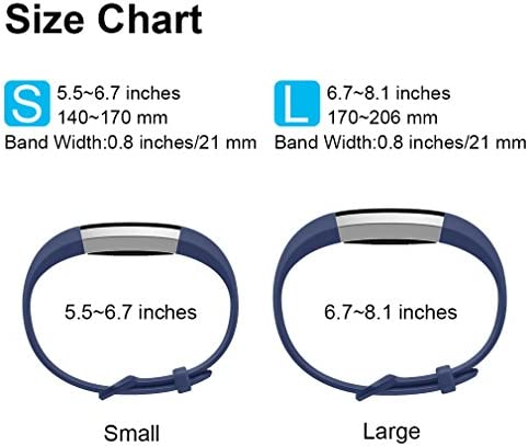 Tobfit 4 Pack Bands Compatible with Fitbit Alta/Alta HR Bands, Soft Sport Silicone Replacement Wristbands for Women Men (Small, Blue/Rose Gold/Silver/Gray) 7