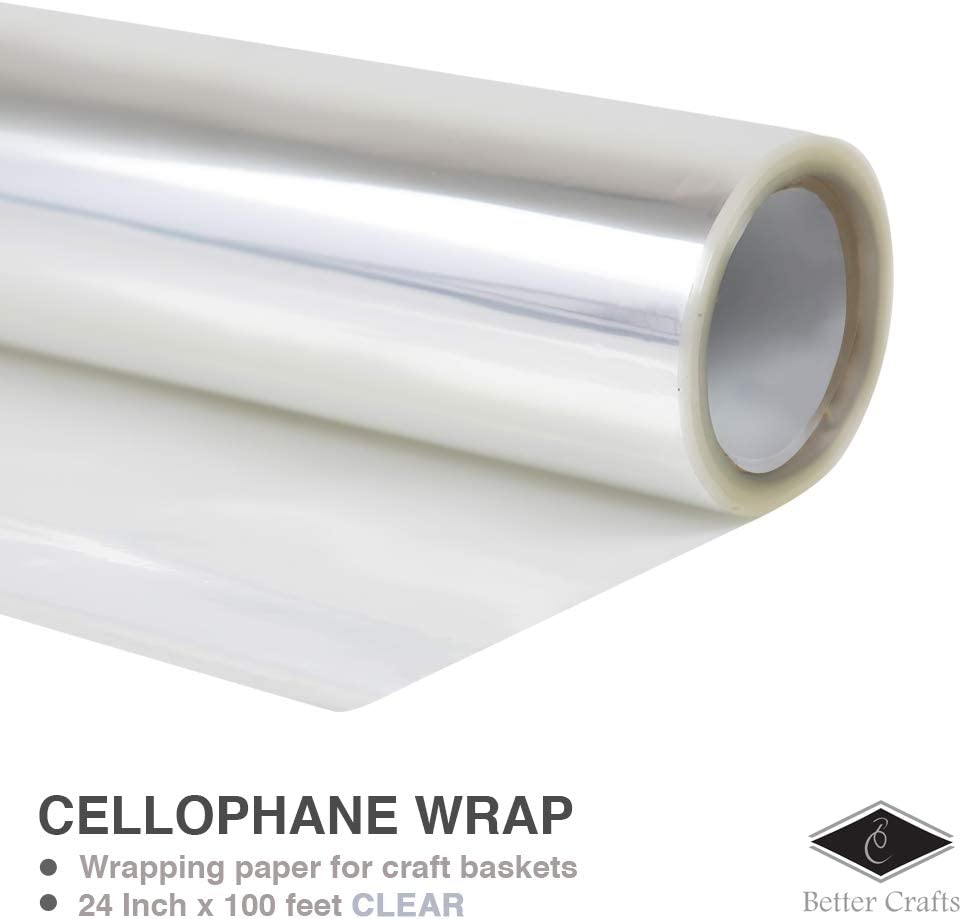 """100' Ft Clear Cellophane Wrap Roll USA Made Long X 20"""" Wide 1.6 Mil Thick"""