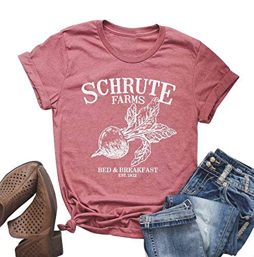 Funny Cotton - MOMOER Schrute Farms Shirt Women Cute Graphic Tees Cotton Shoort Sleeve Letter Print Funny T-Shirt Tops (Pink, L)