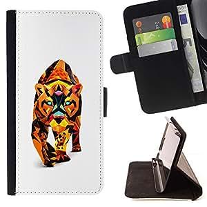 For LG G2 D800 Case , Polígono Triángulo colorido Cat Puma Puma León- la tarjeta de Crédito Slots PU Funda de cuero Monedero caso cubierta de piel
