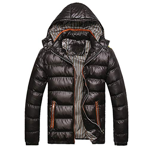 Solid Hooded Winter Jackets Casual Coats Thick Thermal Coats,Black,L