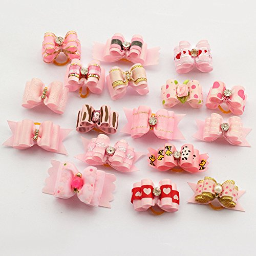 Roto – 60 Pcs/set Girl Pattern Handmade Doggie Accessories Bows for Dog Salon Dogs Bows Show Supplies Wholesale (Pink)