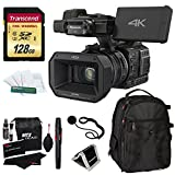Panasonic HC-X1000 4K-60p/50p Camcorder with High-Powered 20x Optical Zoom and Professional Functions (Black) with Transcend 128 GB U3 SDXC + Deluxe Padded Backpack + Accessory Bundle