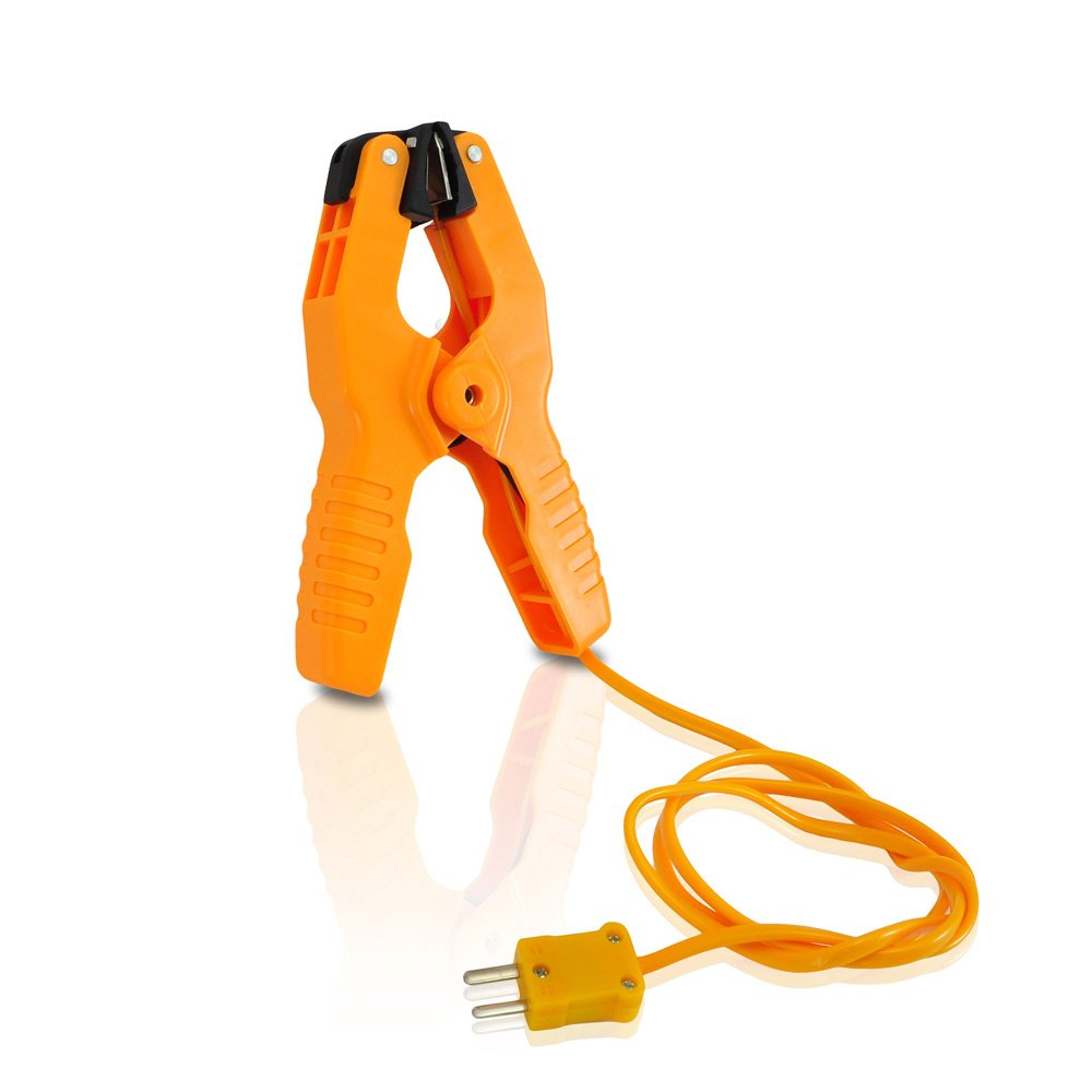 Pipe Clamp Temperature Probe Tool - Type-K Pipe Clamp Adapter Thermocouple Probe for External Meter or Gauge Device Like Digital Multimeters and Clamp Meters, Measures Temperature - Pyle PCTL01 by Pyle