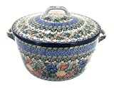Polish Pottery Summer Blooms Round Baker with Lid