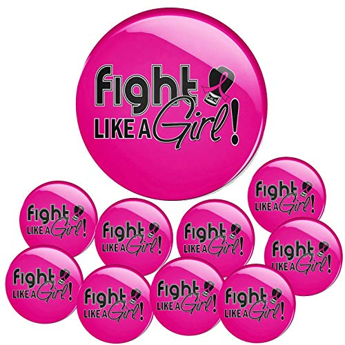 Fight Like a Girl Signature Breast Cancer Round Buttons/Pins/Badges 10-Pack (Hot - Cancer Breast Survivor Pins