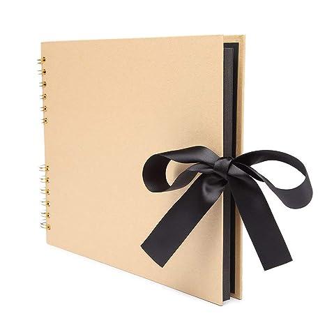 Veesun Photo Album Scrapbook 12x12 Inches Xxl Diy 50 Black Pages Kraft Memory Book Wedding Guest Book Birthday Presents For Mum Baby Girl Graduation