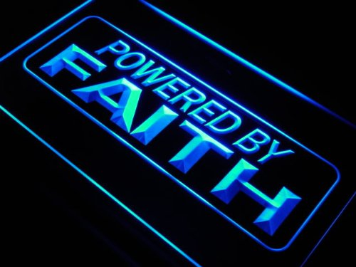 Powered By Faith Home Decor LED Sign Neon Light Sign Display J612 B(c