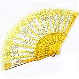 Lanburch Creative Plastic Dance Folding Fans Rose Pattern Dance tool Yellow