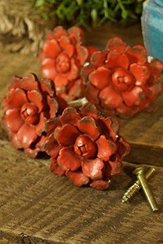 1.75' Flower (VIP International Flower Knobs - Set of 4 (Antique Red))