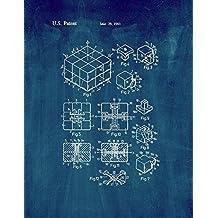 "Rubik Cube Toy Patent Print Art Poster Midnight Blue (11"" x 14"")"